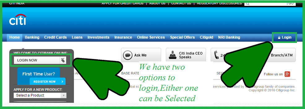 how to login Citibank