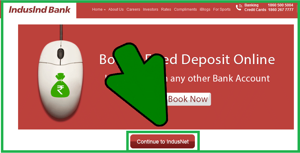 how to login Online banking in Indusind Bank