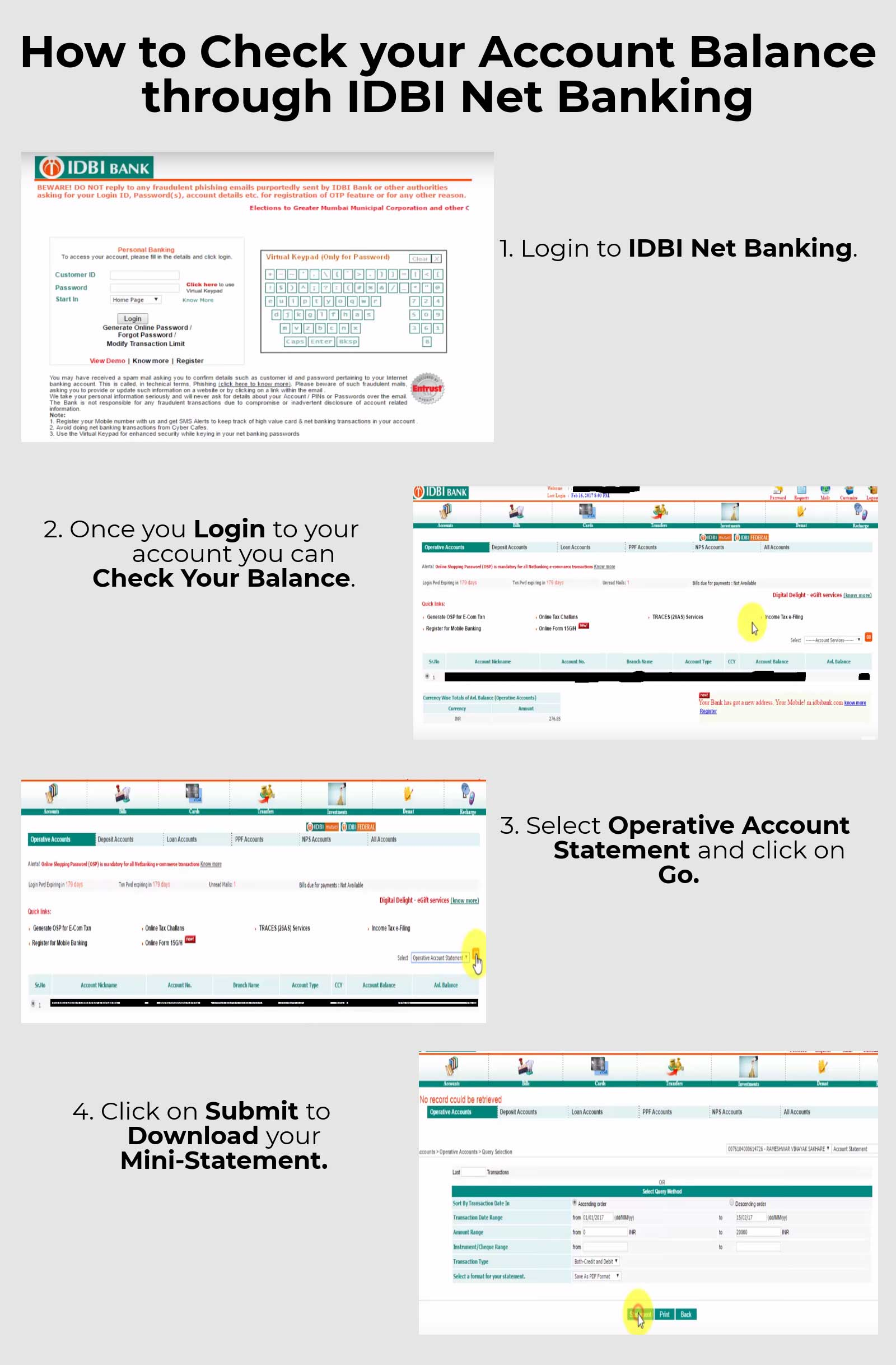 online account balance check in idbi bank