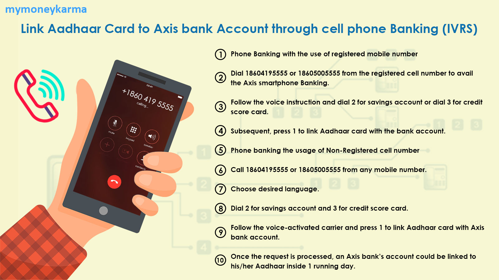 Phone Banking with the use of registered mobile number                         Dial 18604195555 or 18605005555 from the registered cell number to avail the Axis smartphone Banking.                         Follow the voice instruction and dial 2 for savings account or dial 3 for credit score card.                         Subsequent, press 1 to link Aadhaar card with the bank account.                         Phone banking the usage of Non-Registered cell number                         Call 18604195555 or 18605005555 from any mobile number.                         Choose desired language.                         Dial 2 for savings account and 3 for credit score card.                         Follow the voice-activated carrier and press 1 to link Aadhaar card with Axis bank account.                         Once the request is processed, an Axis bank's account could be linked to his/her Aadhaar inside 1 running day.