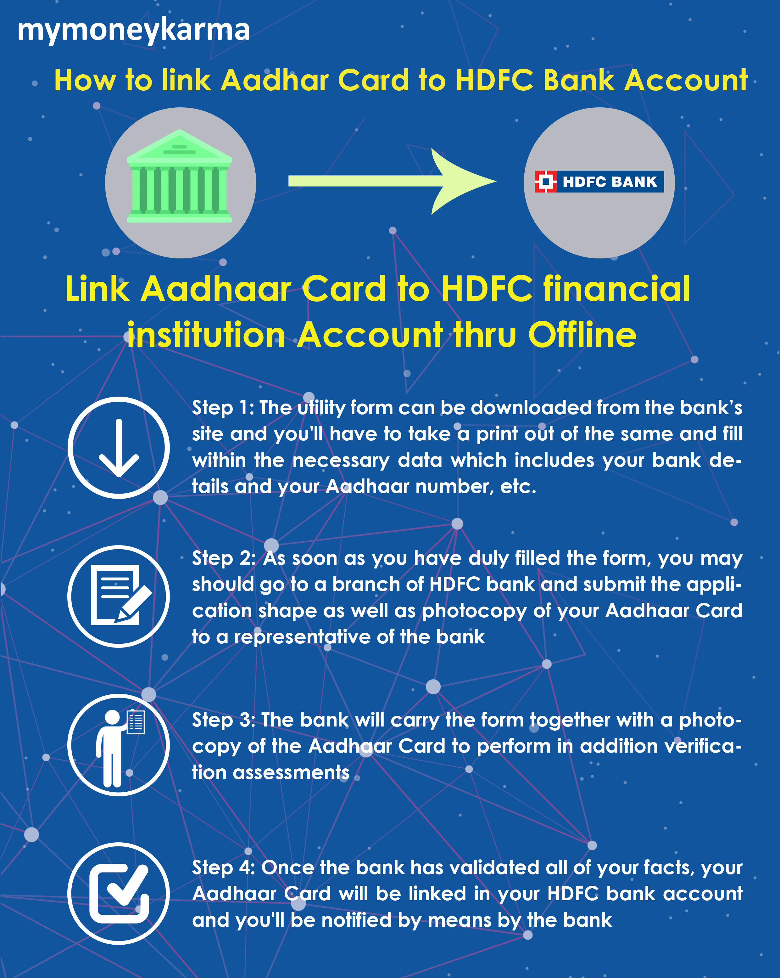 Step 1: The utility form can be downloaded from the bank's site and you'll have to take a print out of the same and fill within the necessary data which includes your bank details and your Aadhaar number, etc.                         Step 2: As soon as you have duly filled the form, you may should go to a branch of HDFC bank and submit the application shape as well as photocopy of your Aadhaar Card to a representative of the bank                         Step 3: The bank will carry the form together with a photocopy of the Aadhaar Card to perform in addition verification assessments                         Step 4: Once the bank has validated all of your facts, your Aadhaar Card will be linked in your HDFC bank account and you'll be notified by means by the bank