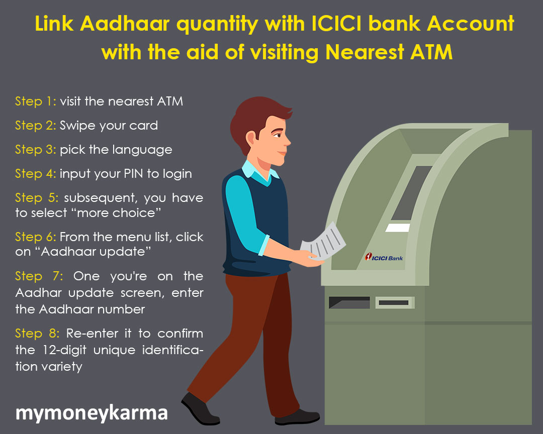 "Step 1: visit the nearest ATM                         Step 2: Swipe your card                         Step 3: Pick the language                         Step 4: Enter your PIN to login                         Step 5: Subsequently, you have to select ""more choice""                         Step 6: From the menu list, click on ""Aadhaar update""                         Step 7: Once you're on the Aadhaar update screen, enter the Aadhaar number                         Step 8: Re-enter it to confirm the 12-digit unique identification number                         Step 9: Click on ""submit"" tab to finish the Aadhaar and ICICI bank account linking"