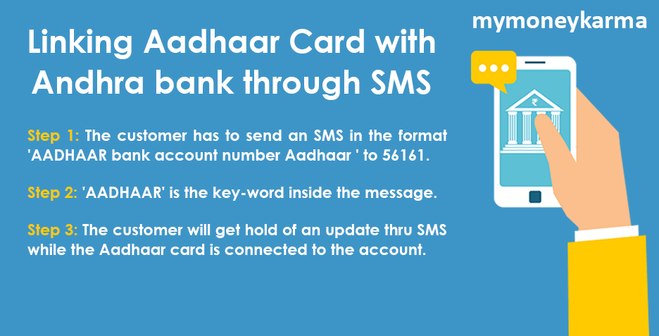 The customer has to send an SMS in the format 'AADHAAR bank account number Aadhaar ' to 56161.                     'AADHAAR' is the key-word inside the message.                     The customer will get hold of an update thru SMS while the Aadhaar card is connected to the account.