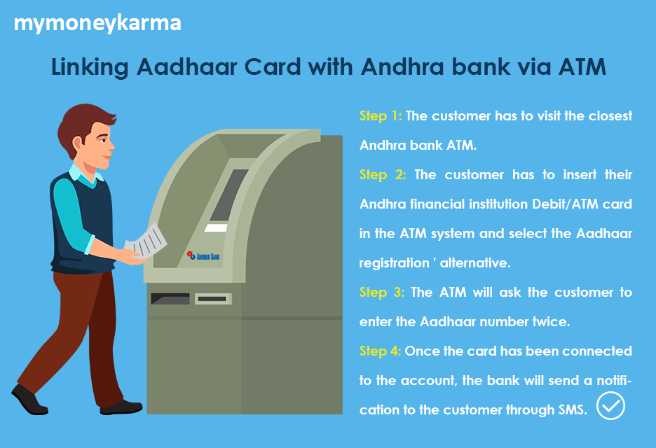 The customer has to visit the closest Andhra bank ATM.                     The customer has to insert their Andhra financial institution Debit/ATM card in the ATM system and select the Aadhaar registration ' alternative.                     The ATM will ask the customer to enter the Aadhaar number twice.                     Once the card has been connected to the account, the bank will send a notification to the customer through SMS.